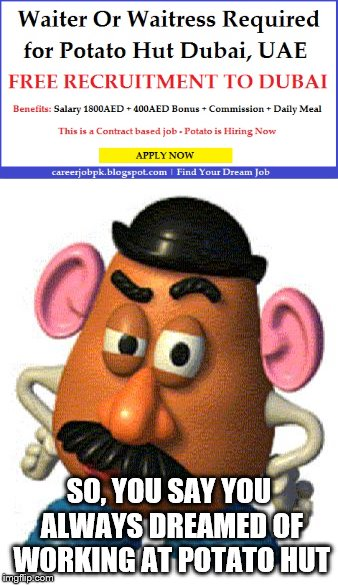 I wonder what the daily meal is | SO, YOU SAY YOU ALWAYS DREAMED OF WORKING AT POTATO HUT | image tagged in potato,mr potato head | made w/ Imgflip meme maker
