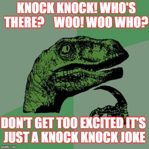 Philosoraptor Meme | KNOCK KNOCK! WHO'S THERE?    WOO! WOO WHO? DON'T GET TOO EXCITED IT'S JUST A KNOCK KNOCK JOKE | image tagged in memes,philosoraptor | made w/ Imgflip meme maker