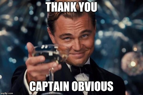 Leonardo Dicaprio Cheers Meme | THANK YOU CAPTAIN OBVIOUS | image tagged in memes,leonardo dicaprio cheers | made w/ Imgflip meme maker