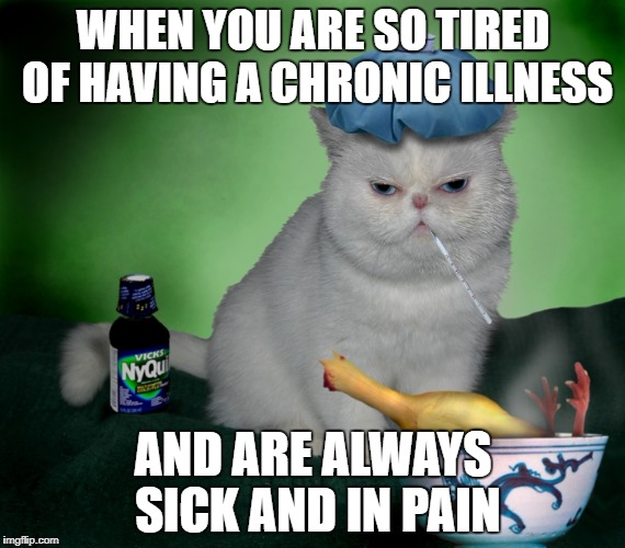 Sick Cat | WHEN YOU ARE SO TIRED OF HAVING A CHRONIC ILLNESS AND ARE ALWAYS SICK AND IN PAIN | image tagged in sick cat | made w/ Imgflip meme maker