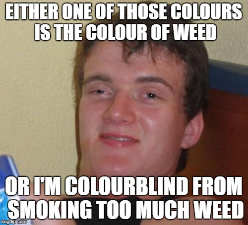10 Guy Meme | EITHER ONE OF THOSE COLOURS IS THE COLOUR OF WEED OR I'M COLOURBLIND FROM SMOKING TOO MUCH WEED | image tagged in memes,10 guy | made w/ Imgflip meme maker