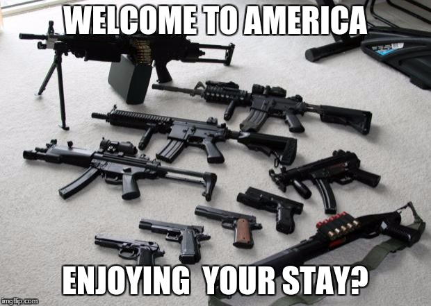 guns | WELCOME TO AMERICA ENJOYING  YOUR STAY? | image tagged in guns | made w/ Imgflip meme maker