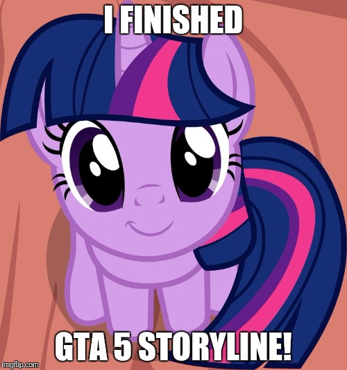 This makes me happy! | I FINISHED GTA 5 STORYLINE! | image tagged in twilight is interested,memes,gta 5 | made w/ Imgflip meme maker