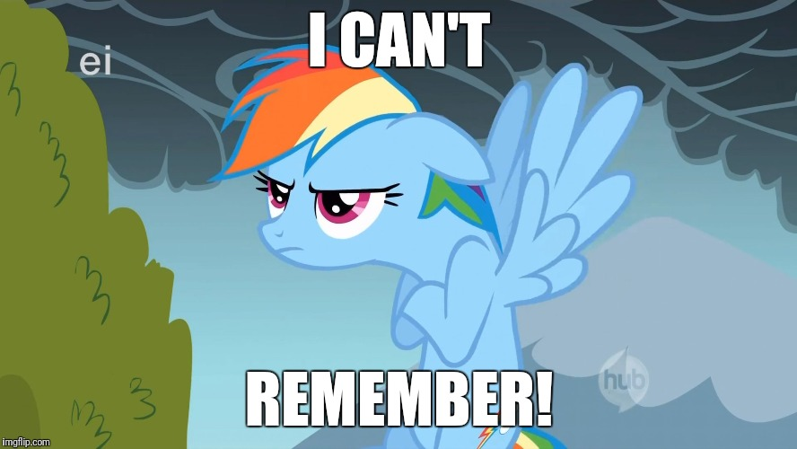 Grumpy Pony | I CAN'T REMEMBER! | image tagged in grumpy pony | made w/ Imgflip meme maker