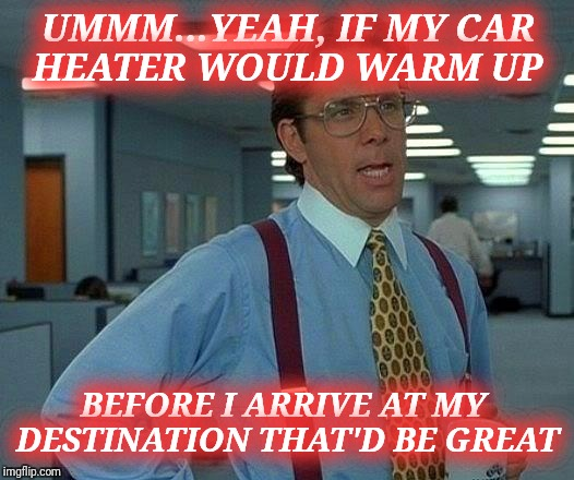 Brrrrrrrr.... | UMMM...YEAH, IF MY CAR HEATER WOULD WARM UP BEFORE I ARRIVE AT MY DESTINATION THAT'D BE GREAT | image tagged in memes,that would be great | made w/ Imgflip meme maker