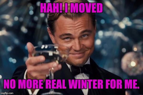 Leonardo Dicaprio Cheers Meme | HAH! I MOVED NO MORE REAL WINTER FOR ME. | image tagged in memes,leonardo dicaprio cheers | made w/ Imgflip meme maker