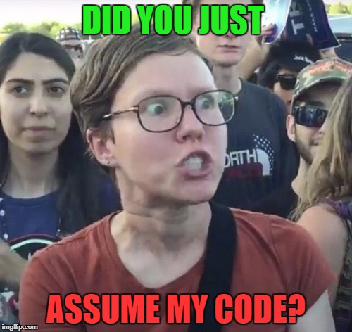 DID YOU JUST ASSUME MY CODE? | made w/ Imgflip meme maker