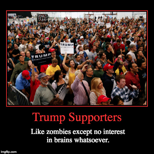 Trump Supporters Are Like Zombies | Trump Supporters | Like zombies except no interest in brains whatsoever. | image tagged in funny,demotivationals,trump supporters,zombies | made w/ Imgflip demotivational maker