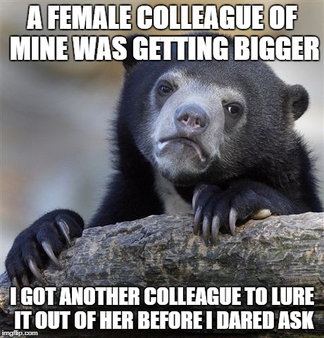 Confession Bear Meme | A FEMALE COLLEAGUE OF MINE WAS GETTING BIGGER I GOT ANOTHER COLLEAGUE TO LURE IT OUT OF HER BEFORE I DARED ASK | image tagged in memes,confession bear | made w/ Imgflip meme maker