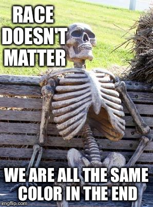 Waiting Skeleton Meme | RACE DOESN'T MATTER WE ARE ALL THE SAME COLOR IN THE END | image tagged in memes,waiting skeleton | made w/ Imgflip meme maker