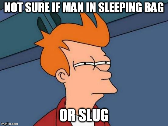 Futurama Fry Meme | NOT SURE IF MAN IN SLEEPING BAG OR SLUG | image tagged in memes,futurama fry | made w/ Imgflip meme maker