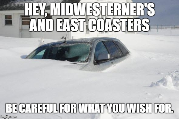 Snow storm Large | HEY, MIDWESTERNER'S AND EAST COASTERS BE CAREFUL FOR WHAT YOU WISH FOR. | image tagged in snow storm large | made w/ Imgflip meme maker