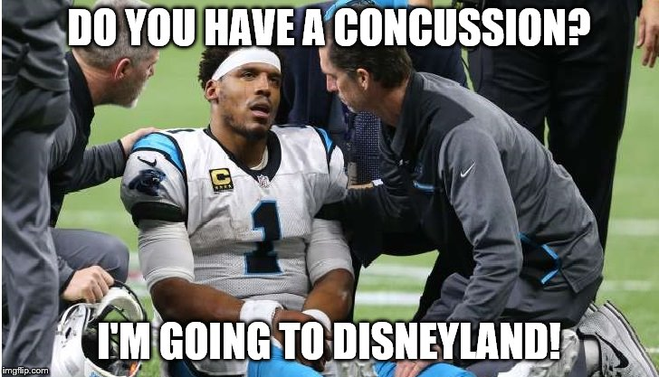 Cam Newton Concussion #4 | DO YOU HAVE A CONCUSSION? I'M GOING TO DISNEYLAND! | image tagged in cam newton | made w/ Imgflip meme maker