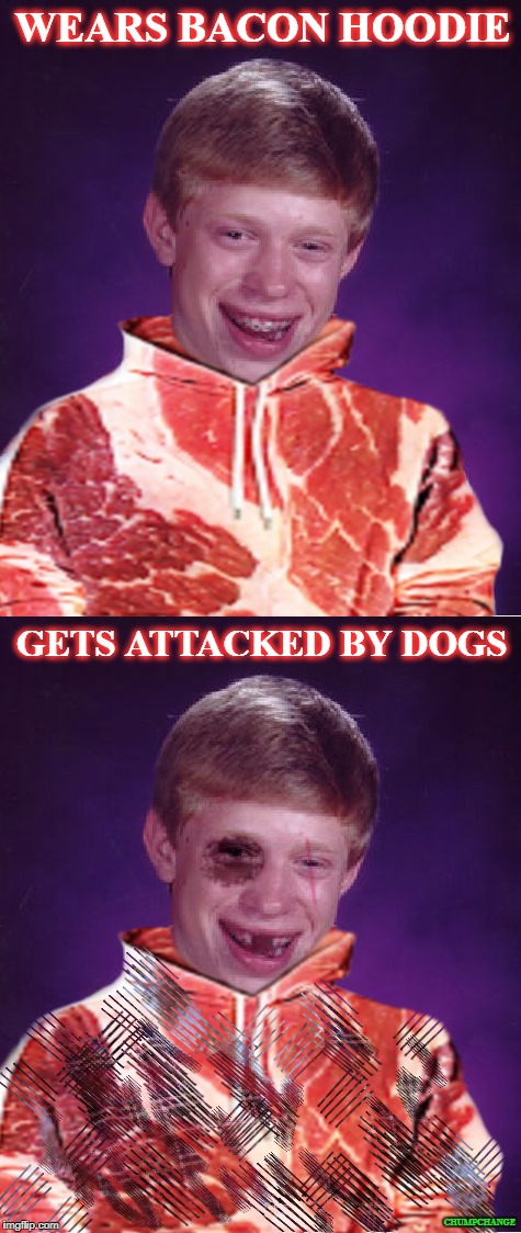 Bad Luck Brian | WEARS BACON HOODIE GETS ATTACKED BY DOGS CHUMPCHANGE | image tagged in bad luck brian meatsuit | made w/ Imgflip meme maker