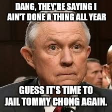 DANG, THEY'RE SAYING I AIN'T DONE A THING ALL YEAR GUESS IT'S TIME TO JAIL TOMMY CHONG AGAIN. | image tagged in sessions against pot | made w/ Imgflip meme maker
