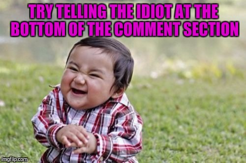 Evil Toddler Meme | TRY TELLING THE IDIOT AT THE BOTTOM OF THE COMMENT SECTION | image tagged in memes,evil toddler | made w/ Imgflip meme maker