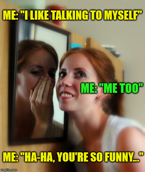 "Me Me Meme | ME: ""I LIKE TALKING TO MYSELF"" ME: ""HA-HA, YOU'RE SO FUNNY..."" ME: ""ME TOO"" 