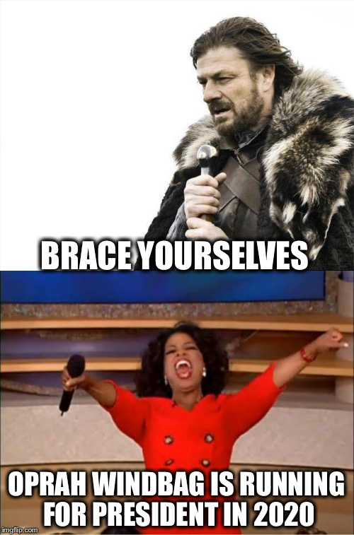 BRACE YOURSELVES OPRAH WINDBAG IS RUNNING FOR PRESIDENT IN 2020 | image tagged in oprah,president,election 2020 | made w/ Imgflip meme maker