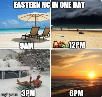 EASTERN NC IN ONE DAY 9AM 12PM 3PM 6PM | image tagged in weather | made w/ Imgflip meme maker