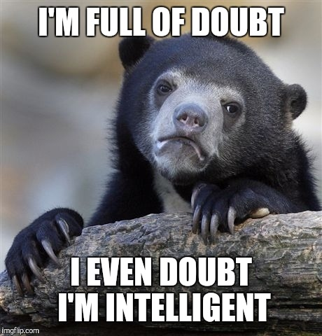 Confession Bear Meme | I'M FULL OF DOUBT I EVEN DOUBT I'M INTELLIGENT | image tagged in memes,confession bear | made w/ Imgflip meme maker