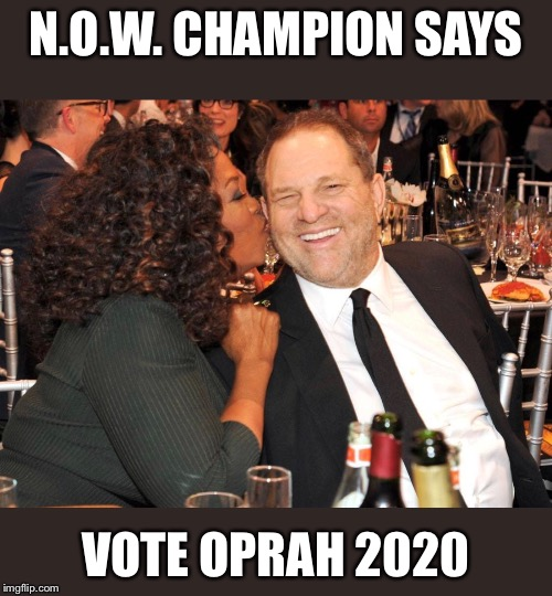 N.O.W. CHAMPION SAYS VOTE OPRAH 2020 | image tagged in oprah you get a | made w/ Imgflip meme maker