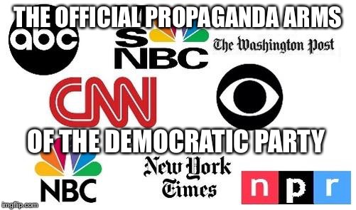 THE OFFICIAL PROPAGANDA ARMS OF THE DEMOCRATIC PARTY | image tagged in lib mainstream media,memes,liberal media,mainstream media,democratic party | made w/ Imgflip meme maker