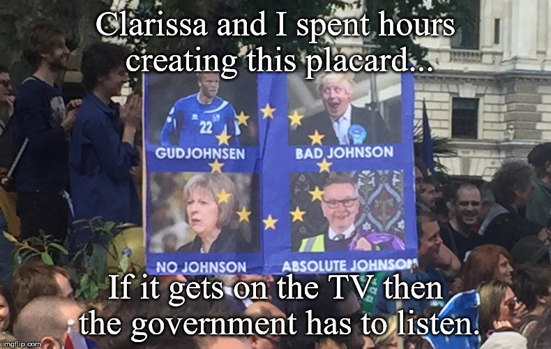 Anti-Brexit Protest Placard | Clarissa and I spent hours creating this placard... If it gets on the TV then the government has to listen. | image tagged in federasts,protesters,placard,brexit,brexit protest | made w/ Imgflip meme maker
