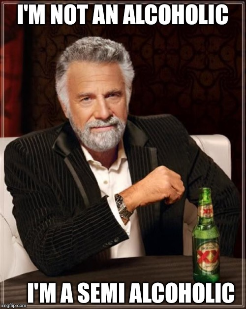 The Most Interesting Man In The World Meme | I'M NOT AN ALCOHOLIC I'M A SEMI ALCOHOLIC | image tagged in memes,the most interesting man in the world | made w/ Imgflip meme maker