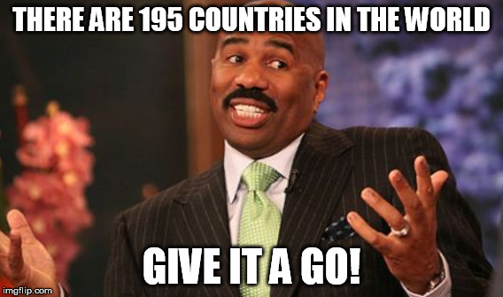 THERE ARE 195 COUNTRIES IN THE WORLD GIVE IT A GO! | made w/ Imgflip meme maker
