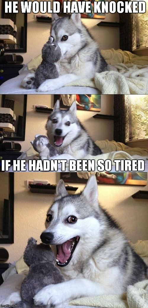 Bad Pun Dog Meme | HE WOULD HAVE KNOCKED IF HE HADN'T BEEN SO TIRED | image tagged in memes,bad pun dog | made w/ Imgflip meme maker