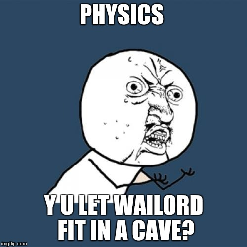 Y U No Meme | PHYSICS Y U LET WAILORD FIT IN A CAVE? | image tagged in memes,y u no | made w/ Imgflip meme maker