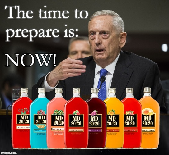 The time to prepare is: NOW! |  The time to prepare is:; NOW! | image tagged in mad dog 2020,2020 elections,20/20,mattis,mad dog mattis | made w/ Imgflip meme maker