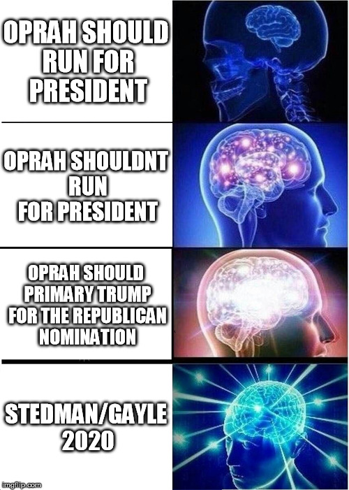 Expanding Brain Meme | OPRAH SHOULD RUN FOR PRESIDENT OPRAH SHOULDNT RUN FOR PRESIDENT OPRAH SHOULD PRIMARY TRUMP FOR THE REPUBLICAN NOMINATION STEDMAN/GAYLE 2020 | image tagged in memes,expanding brain,AdviceAnimals | made w/ Imgflip meme maker