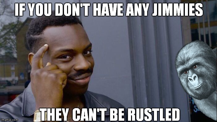 Oh mama don't let your baby grow up to be rustled.... | IF YOU DON'T HAVE ANY JIMMIES THEY CAN'T BE RUSTLED | image tagged in memes,roll safe think about it,rustle my jimmies | made w/ Imgflip meme maker