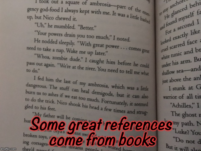 Some great references come from books | image tagged in percy jackson,books,geek week | made w/ Imgflip meme maker