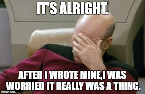 Captain Picard Facepalm Meme | IT'S ALRIGHT. AFTER I WROTE MINE,I WAS WORRIED IT REALLY WAS A THING. | image tagged in memes,captain picard facepalm | made w/ Imgflip meme maker