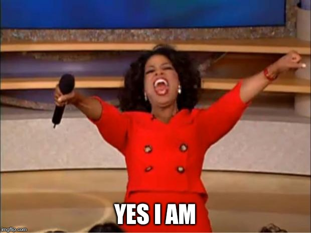 Oprah You Get A Meme | YES I AM | image tagged in memes,oprah you get a | made w/ Imgflip meme maker