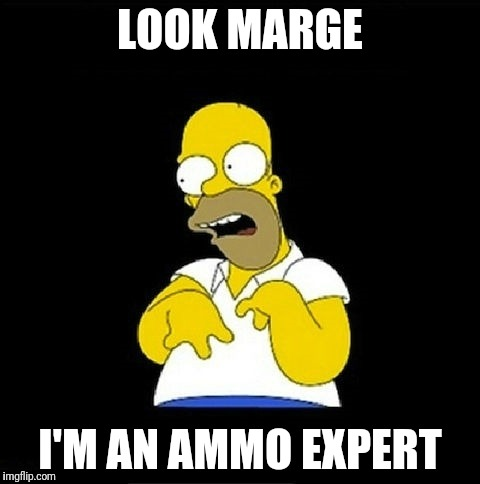 Homer Simpson Retarded | LOOK MARGE I'M AN AMMO EXPERT | image tagged in homer simpson retarded | made w/ Imgflip meme maker