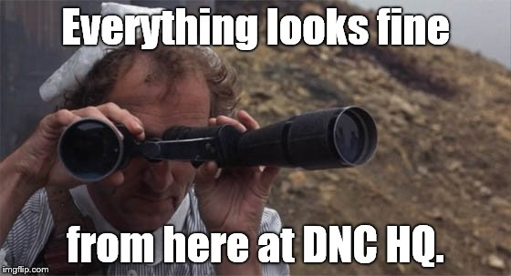 marty feldman field glasses | Everything looks fine from here at DNC HQ. | image tagged in marty feldman field glasses | made w/ Imgflip meme maker