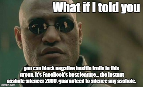 Matrix Morpheus Meme | What if I told you you can block negative hostile trolls in this group, it's FaceBook's best feature... the instant asshole silencer 2000, g | image tagged in memes,matrix morpheus | made w/ Imgflip meme maker