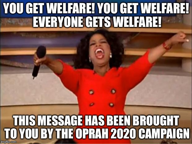 Oprah You Get A Meme | YOU GET WELFARE! YOU GET WELFARE! EVERYONE GETS WELFARE! THIS MESSAGE HAS BEEN BROUGHT TO YOU BY THE OPRAH 2020 CAMPAIGN | image tagged in memes,oprah you get a | made w/ Imgflip meme maker