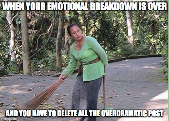 Worst things happen to people #5 | WHEN YOUR EMOTIONAL BREAKDOWN IS OVER AND YOU HAVE TO DELETE ALL THE OVERDRAMATIC POST | image tagged in memes,funny memes,funny,funny picture,bad decision | made w/ Imgflip meme maker