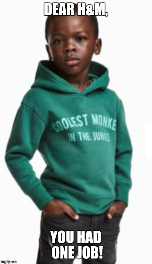 Advertising Workers Must Smoke a Lot of Weed | DEAR H&M, YOU HAD ONE JOB! | image tagged in monkey,cool,advertising | made w/ Imgflip meme maker