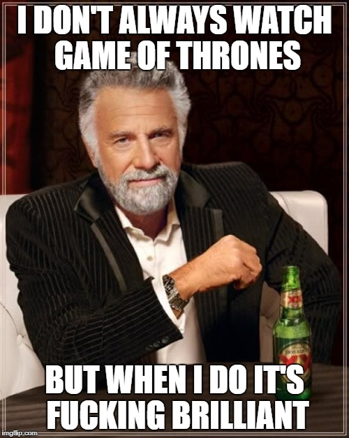 The Most Interesting Man In The World Meme | I DON'T ALWAYS WATCH GAME OF THRONES BUT WHEN I DO IT'S F**KING BRILLIANT | image tagged in memes,the most interesting man in the world | made w/ Imgflip meme maker