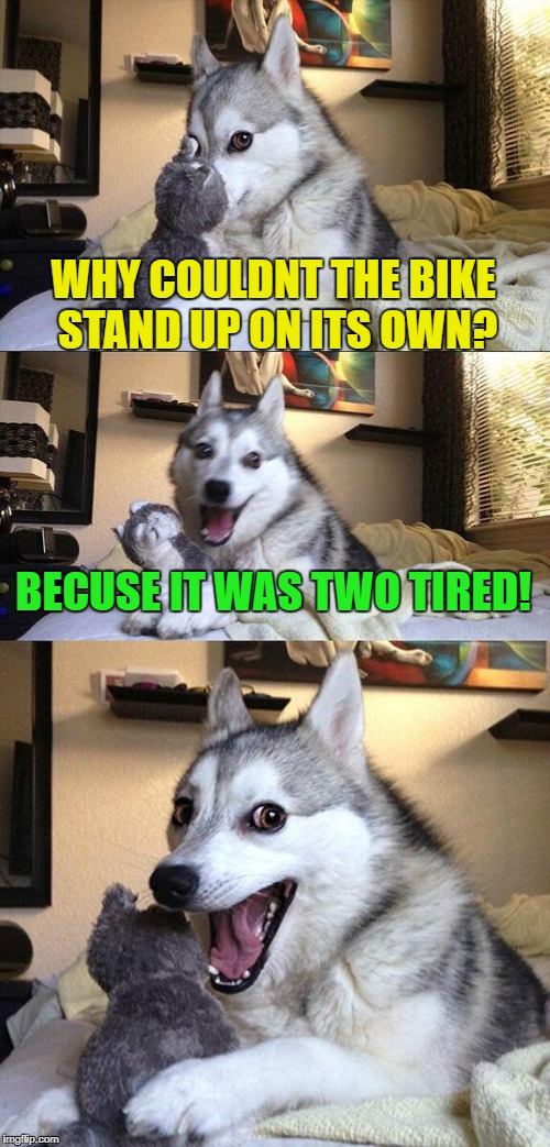 Bad Pun Dog Meme | WHY COULDNT THE BIKE STAND UP ON ITS OWN? BECUSE IT WAS TWO TIRED! | image tagged in memes,bad pun dog | made w/ Imgflip meme maker