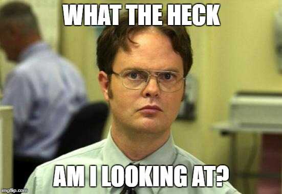 Dwight Schrute Meme | WHAT THE HECK AM I LOOKING AT? | image tagged in memes,dwight schrute | made w/ Imgflip meme maker