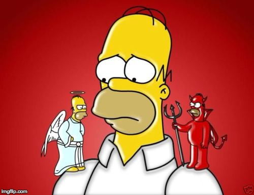 Homer Simpson Angel Devil | image tagged in homer simpson angel devil | made w/ Imgflip meme maker