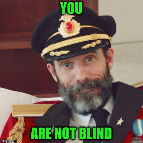 Captain Obvious | YOU ARE NOT BLIND | image tagged in captain obvious | made w/ Imgflip meme maker