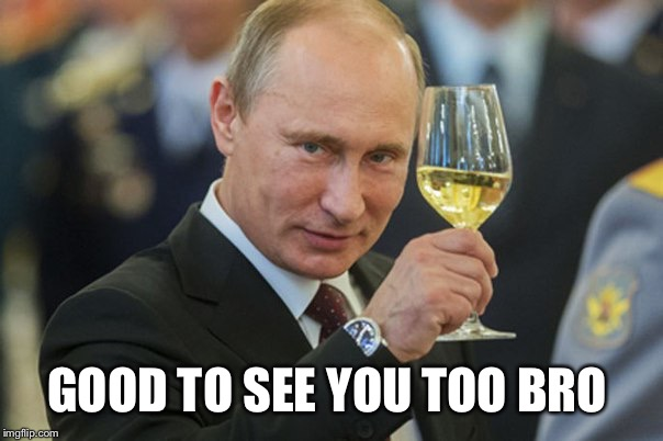 Putin Cheers | GOOD TO SEE YOU TOO BRO | image tagged in putin cheers | made w/ Imgflip meme maker