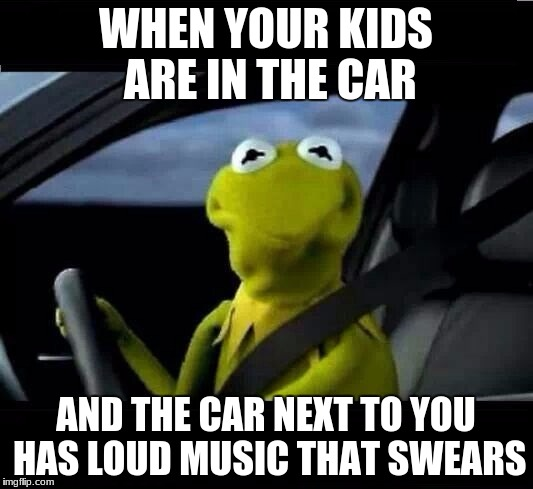 WHEN YOUR KIDS ARE IN THE CAR AND THE CAR NEXT TO YOU HAS LOUD MUSIC THAT SWEARS | image tagged in kermit the frog frowned face | made w/ Imgflip meme maker